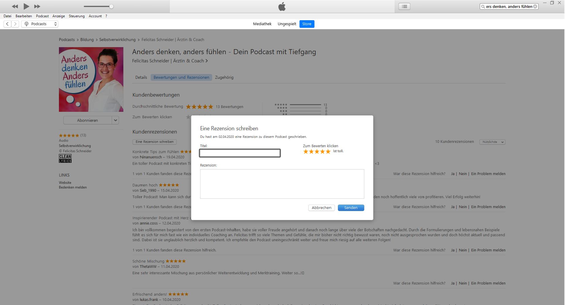 Podcast bewerten iTunes Felicitas Schneider